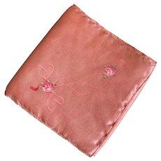 Bella Bordello Vintage Pink Silk Hankie Holder Hand Painted Boudoir