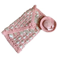 Bella Bordello Vintage Charming Sewing Keeper Pouch Hat Pin Cushion Pink Sweater Knit Woven White Ribbon