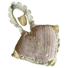 Bella Bordello Vintage Handmade Heart Lace Crochet Pin Cushion With Thimble Holder Woven Ribbon Pink Yellow