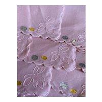Bella Bordello 12pc Set Vintage Pink Swiss Organdy Cotton Scalloped Napkin Set