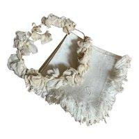 Bella Bordello Set 12 Antique White Linen Floral Damask Napkins Fringe Embroidered Monogram C or G