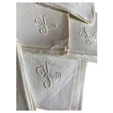 Bella Bordello Set 6 Antique With Damask Napkin Embroidered Monogram K