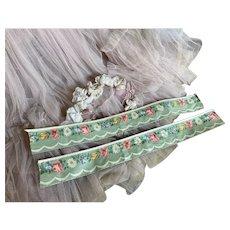 Bella Bordello Vintage Shelf Trim Polished Fabric Pastel Green Rose Daisies Shabby Chic