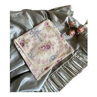 Bella Bordello Antique French Fabric Hankie Napkin Keeper Pocket Floral Basket Swags Ribbon Bow