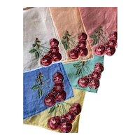 Set 6 Vintage Cocktail Napkins Madeira Linen Embroidered Cherries