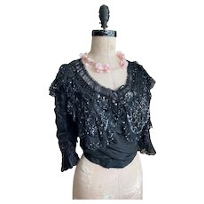 Magical Antique Bodice Black Silk Sequins Beaded Lace Ruffled Sleeves