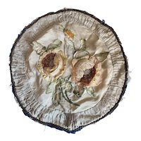 Stunning Antique French Satin Ribbonwork Ruched Boudoir Pillow Cushion Top Braided Metallic Passementerie Trim