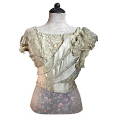 Antique Timeworn Shabby Chic Bodice Pale Ice Green Silk Ribbon Accents