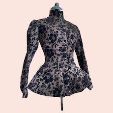 Antique Victorian Cut Velvet Floral Bodice Jet Black Buttons High Collar Purple Contrast Stitching