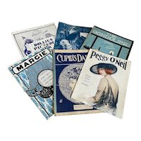 Bella Bordello Antique Vintage 1920s Sheet Music Collection Blue White