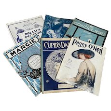 Bella Bordello Antique Vintage 1920s Sheet Music Collection Blue White