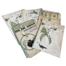 Bella Bordello Antique Vintage 1920s Sheet Music Collection Green White Halloween Pumpkin