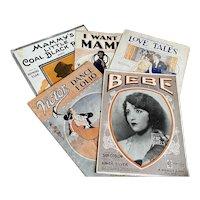 Bella Bordello Antique Vintage 1920s Sheet Music Collection Orange Black Americana