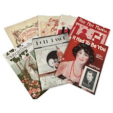 Bella Bordello Antique Vintage 1920s Sheet Music Collection Red Black