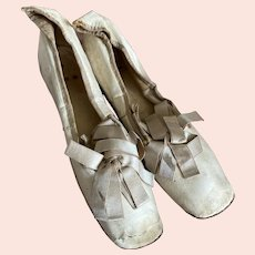 Antique Wedding Shoes Dated 1811 Ivory Lid Leather Silk Bows Rare Pointed Heel