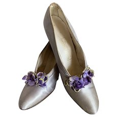 Antique Edwardian Pale Dusty Lavender Shoes With Millinery Flowers