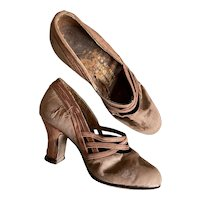 Bella Bordello RARE Antique Womens Salesman's Sample Shoes Dusty Pink Silk