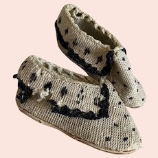 Amazing Early 1800s Child's Woven Wool Shoes Leather Soles Black White