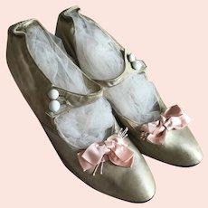 Bella Bordello Antique Shoes White Silk Pink Bows