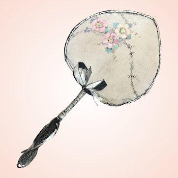 Bella Bordello Antique Silk Hand Painted Boudoir Fan Pink Flowers Flapper