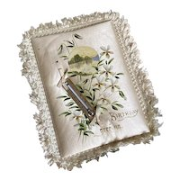 Bella Bordello Antique Victorian Silk Padded Hans Painted Happy Birthday Card Thermometer
