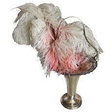 Bella Bordello Antique c1900 Silver Plated Bride's Basket Vase Punchwork Lace Marked Peacock Rogers Bros