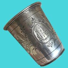 Bella Bordello Antique Nordic c1900 Silver 830 Hallmarked Engraved Monogram GH Liquor Cup