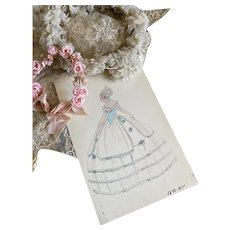 Bella Bordello Vintage Costume Sketch Lesters Chicago Hand Drawn c1920-30 Flapper Girl in 1880s Ball Gown Dress Blue Corset Bodice Millinery Flowers