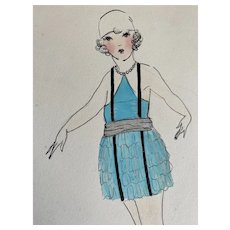 Bella Bordello Vintage Costume Sketch Lesters Chicago Hand Drawn c1920-30 Flapper Blue Ruffled Dress Halter Suspenders Cloche Hat
