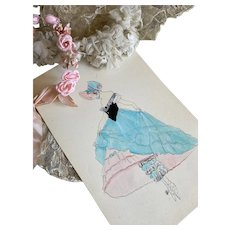 Bella Bordello Vintage Costume Sketch Lesters Chicago Hand Drawn c1920-30 Flapper Little Bo Peep Hoop Skirt Ruffled Bloomers Pantaloons Bonnet
