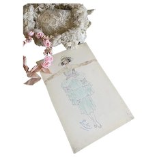 Bella Bordello Vintage Costume Sketch Lesters Chicago Hand Drawn c1920-30 Flapper Dress Ruffled Pink Bows Sun Hat