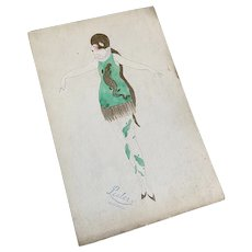 Bella Bordello Vintage Costume Sketch Lesters Chicago Hand Drawn c1920-30 Flapper Unusual Green Gold Lame Fringe Dress Tights Headdress Cloche