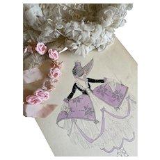 Bella Bordello Vintage Costume Sketch Lesters Chicago Hand Drawn c1920-30 Flapper 1700s Marie Antoinette Era Lavender Hoop Skirt Ruffled Petticoat Corset Bodice Bonnet Ballet Shoes