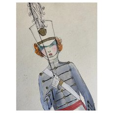 Bella Bordello Vintage Costume Sketch Lesters Chicago Hand Drawn c1920-30 Flapper Little Drummer Boy Marching Band Solider