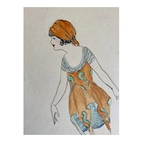 Bella Bordello Vintage Costume Sketch Lesters Chicago Hand Drawn c1920-30 Flapper Gypsy Bohemian Orange Dress Skirt Headscarf