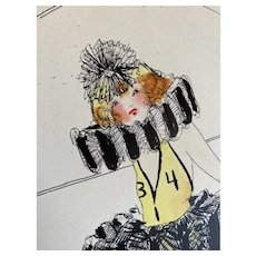 Bella Bordello Vintage Costume Sketch Lesters Chicago Hand Drawn c1920-30 Flapper Pierrot Clown Jumpsuit Collar Tutu