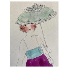 Bella Bordello Vintage Costume Sketch Lesters Chicago Hand Drawn c1920-30 Flapper Aqua Magenta Fringe Dress Ruffled Lace Parasol