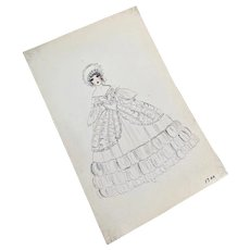 Bella Bordello Vintage Costume Sketch Lesters Chicago Hand Drawn c1920-30 Flapper Face in 1830s  White Ruffled Dress Gown
