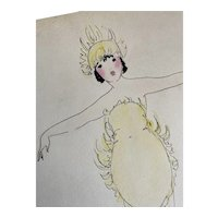 Bella Bordello Vintage Costume Sketch Lesters Chicago Hand Drawn c1920-30 Flapper Yellow Fire Flame Dress Headdress
