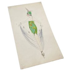 Bella Bordello Vintage Costume Sketch Lesters Chicago Hand Drawn c1920-30 Flapper Green Gold Lame Fish