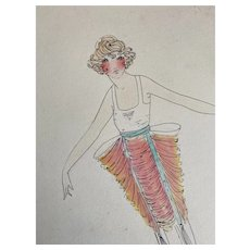 Bella Bordello Vintage Costume Sketch Lesters Chicago Hand Drawn c1920-30 Flapper Peach Ruched Pannier Dress Ribbon Tassels