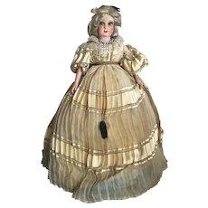 Bella Bordello Standing Antique Vintage French Boudoir Sofa Doll Blonde Hair Silk Dress Shabby Chic