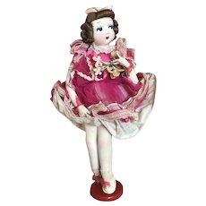 Bella Bordello Vintage Stockinette Doll Painted Face Big Eye Pink Dress Millinery Ballet