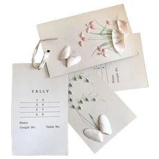 Bella Bordello Set 11 Unused Vintage Tally Cards Bridge Shell Art Flowers Butterflies Shabby Chic