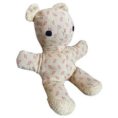 Bella Bordello Sugar Sweet Vintage Timeworn Plush Teddy Bear Cloth Fabric Geometric Red Pink Dots