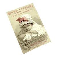 Antique Trade card Baby Bonnet Pink Ribbon Horsfords Acid Phosphate