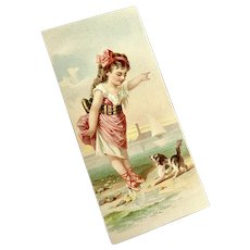 Bella Bordello Antique Victorian Scrap Card Young Girl Beach Dog Sailboat
