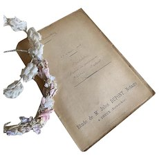 Antique French Transcript Handwritten Dated 1908 Pink Binding Paris Cursive