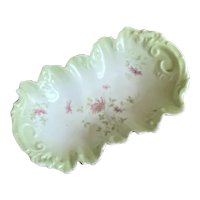 Bella Bordello Antique Pale Green Pink Floral Shabby Chic Trinket Tray Catch Dish