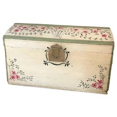 Antique Vintage Shabby Chic Hand Painted Pink Floral Wooden Trunk Shabby